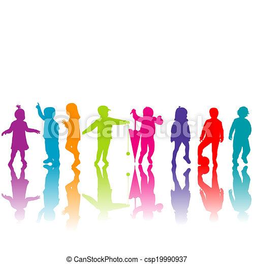 silhouette, set, colorato, bambini - csp19990937