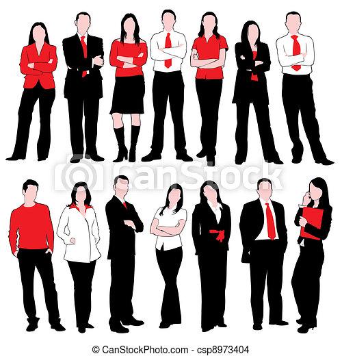 silhouette, set, persone affari - csp8973404