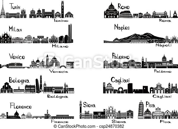 Silhouette signts of 11 cities of I - csp24870382
