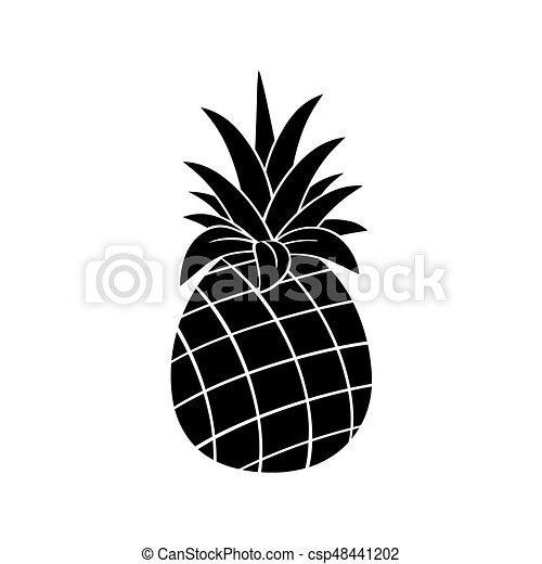 Silhouette Simple Fruit Noir Ananas Conception Blanc