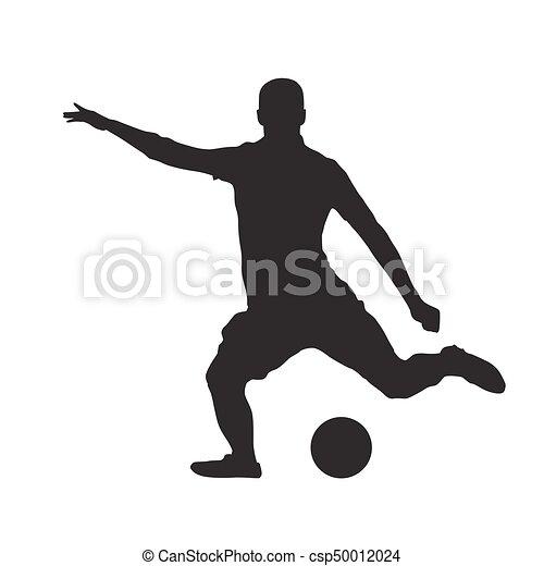 Silhouette Spieler Freigestellt Treten Vektor Fussball Ball