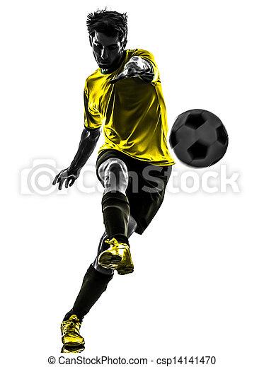 silhouette, spieler, fußball, junger, treten, brasilianisch, fußball, mann - csp14141470