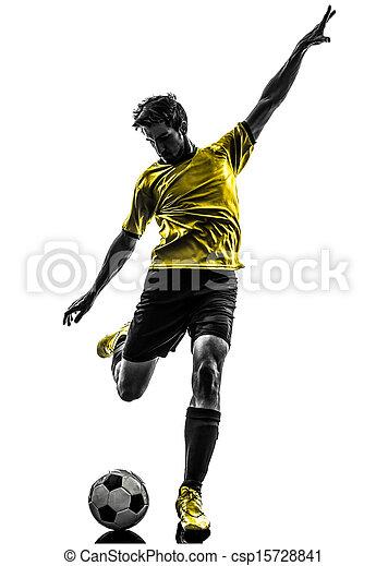 silhouette, spieler, fußball, junger, treten, brasilianisch, fußball, mann - csp15728841
