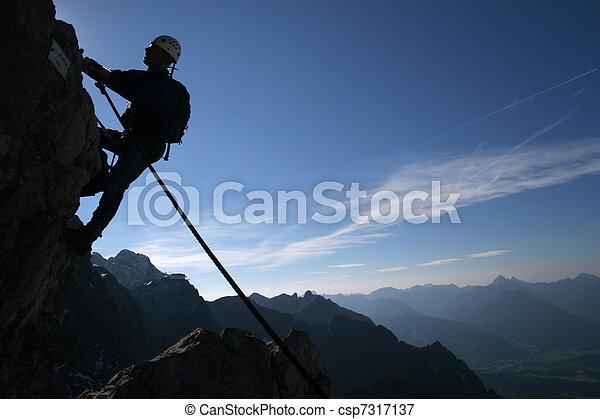 silhouette, -, sport, grimpeur, extrême - csp7317137