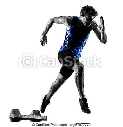silhouette, sprinten, läufer, sprinter, rennender , athletik, mann, isola - csp57977770