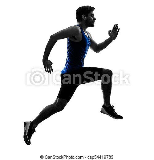 Runner Sprinter mit Sprinting Athletics Man Silhouette isola - csp54419783