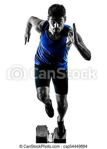 silhouette, sprinten, läufer, sprinter, rennender , athletik, mann, isola - csp54449884