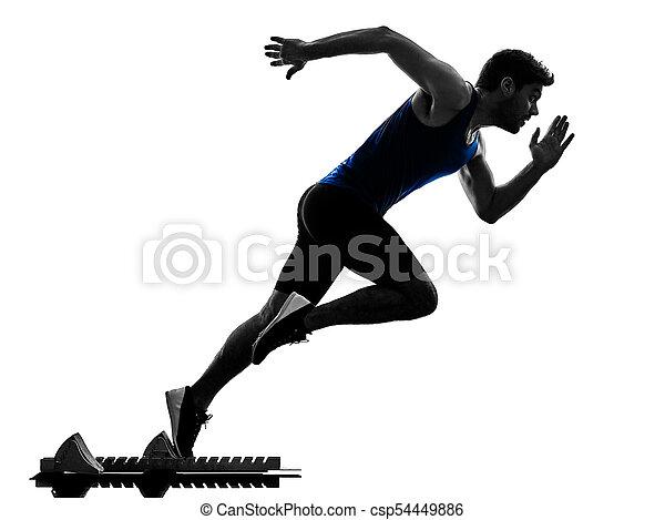 Runner Sprinter mit Sprinting Athletics Man Silhouette isola - csp54449886