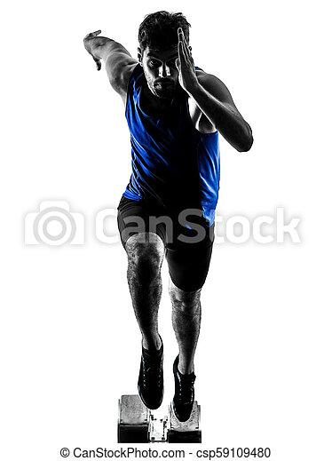 silhouette, sprinten, läufer, sprinter, rennender , athletik, mann, isola - csp59109480