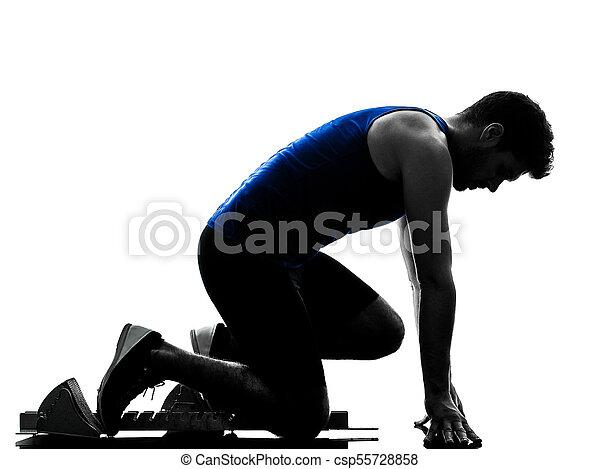 Runner Sprinter mit Sprinting Athletics Man Silhouette isola - csp55728858