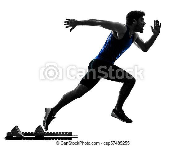 Runner Sprinter mit Sprinting Athletics Man Silhouette isola - csp57485255