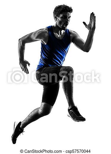 silhouette, sprinten, läufer, sprinter, rennender , athletik, mann, isola - csp57570044