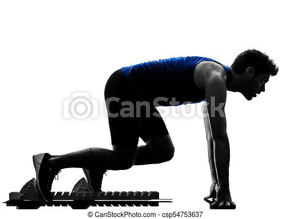 silhouette, sprinten, läufer, sprinter, rennender , athletik, mann, isola - csp54753637