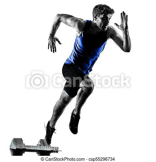 silhouette, sprinten, läufer, sprinter, rennender , athletik, mann, isola - csp55296734