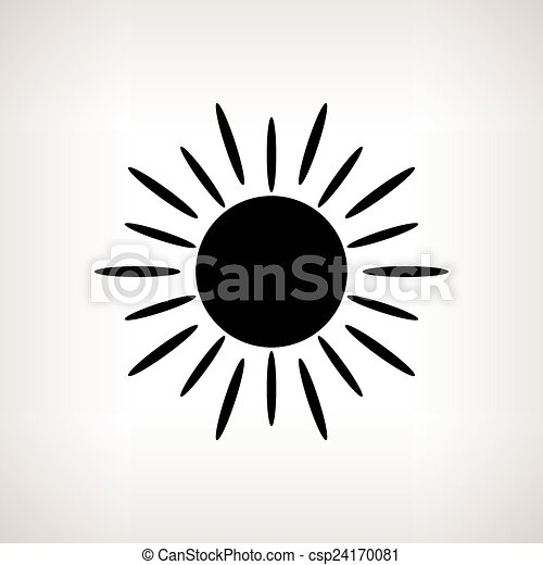 silhouette sun with rays on a light background vector illustration