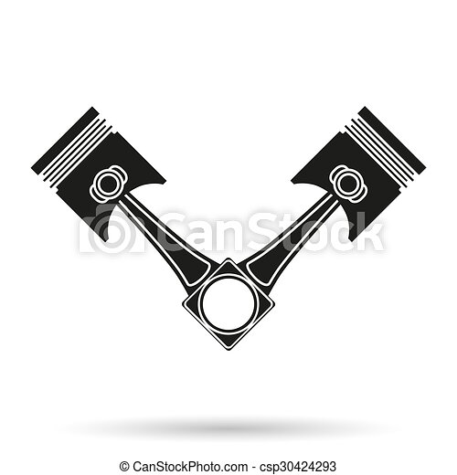 Silhouette Symbol Of Car Engine Pistons Isolated On White Stock