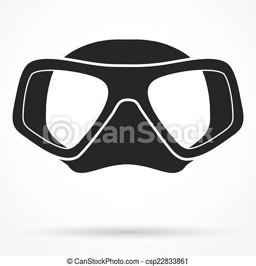 Silhouette symbol of Underwater diving scuba mask - csp22833861