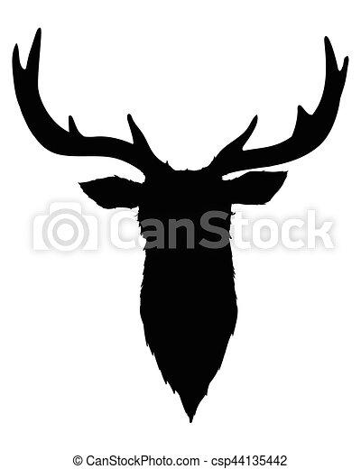 Silhouette Tête Noir Cerf