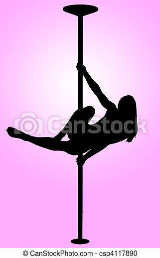 silhouette, tanzen, -, junger, stange, sexy, m�dchen - csp4117890