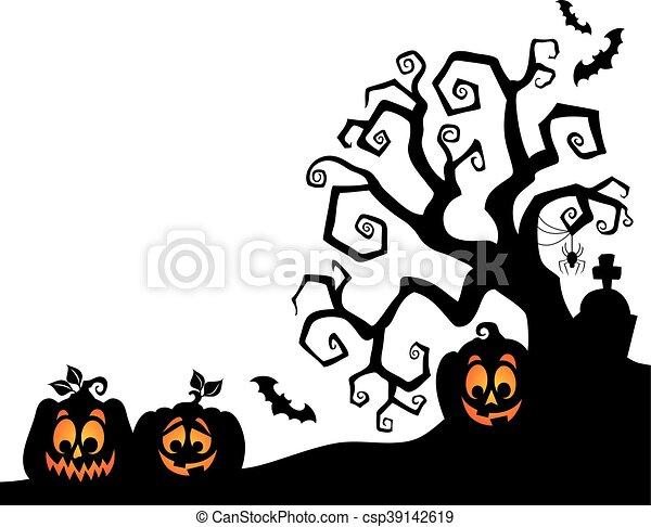 Silhouette, thema, 2, baum, halloween. Silhouette,... Vektor Clipart ...