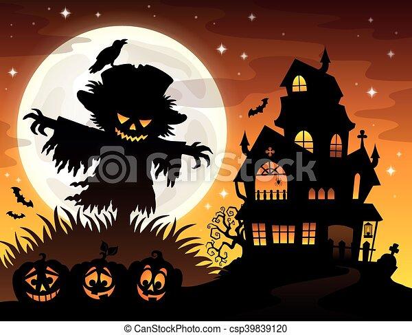 Halloween Thema.Silhouette Thema 2 Vogelverschrikker Halloween