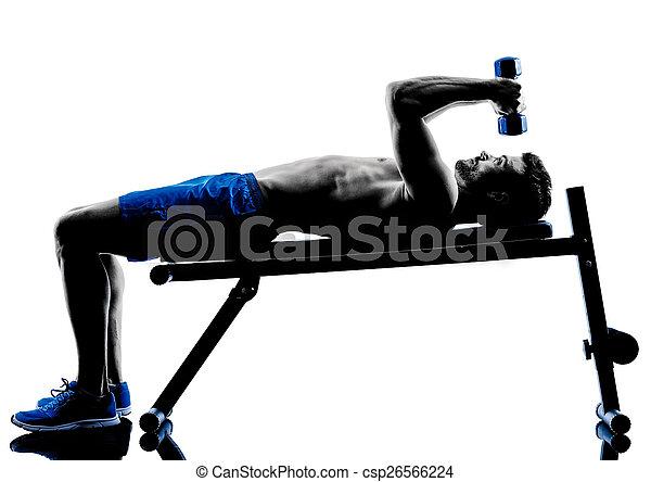 silhouette, trainieren, bank- presse, gewichte, fitness, übungen, mann - csp26566224