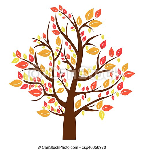 silhouette tree in fall season vector illustration vectors rh canstockphoto com autumn tree clipart black and white autumn tree clipart