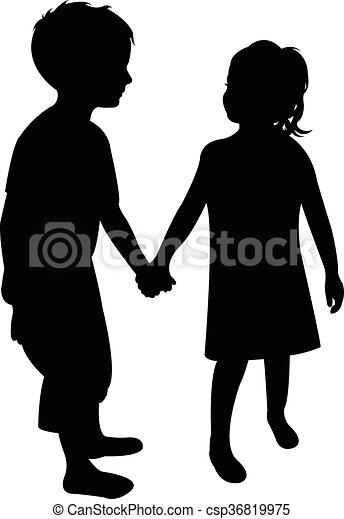 silhouette, twee kinderen - csp36819975