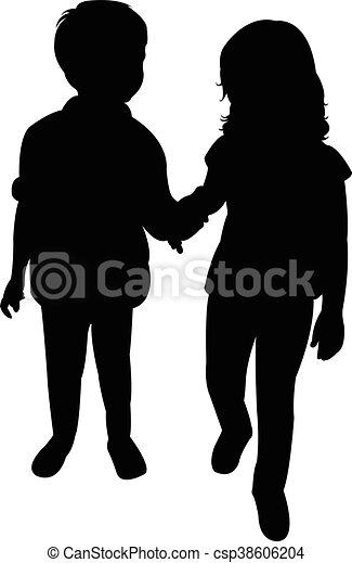 silhouette, twee kinderen - csp38606204