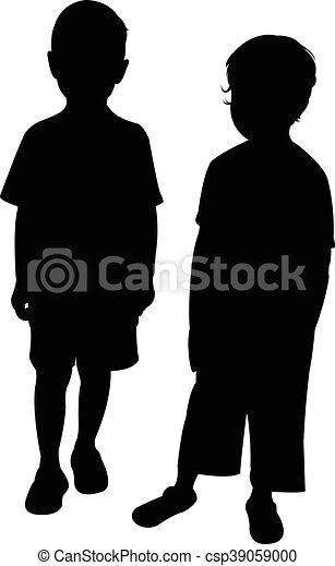 silhouette, twee kinderen - csp39059000