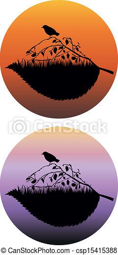 silhouette, uccello - csp15415388