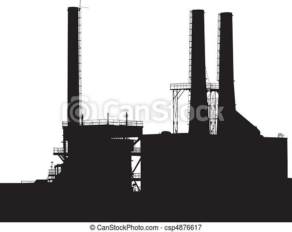silhouette, usine - csp4876617