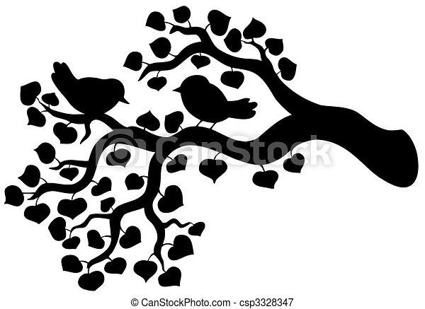 Silhouette von Zweig mit Vögeln - csp3328347