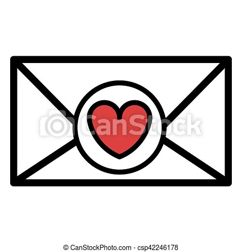 Silhouette Valentine Romantic Envelopes With Heart Draw Vector