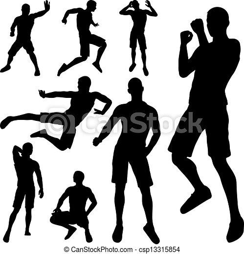 silhouette, vecht, man - csp13315854