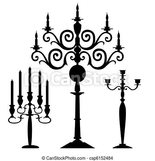 silhouette, vecteur, ensemble, candélabres - csp6152484