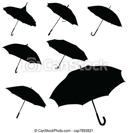 silhouette, vecteur, parapluie noir - csp7893821