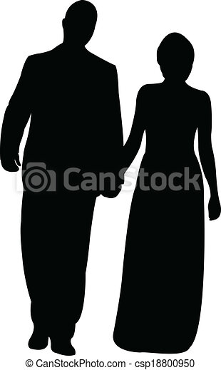 silhouette vector of a couple  - csp18800950