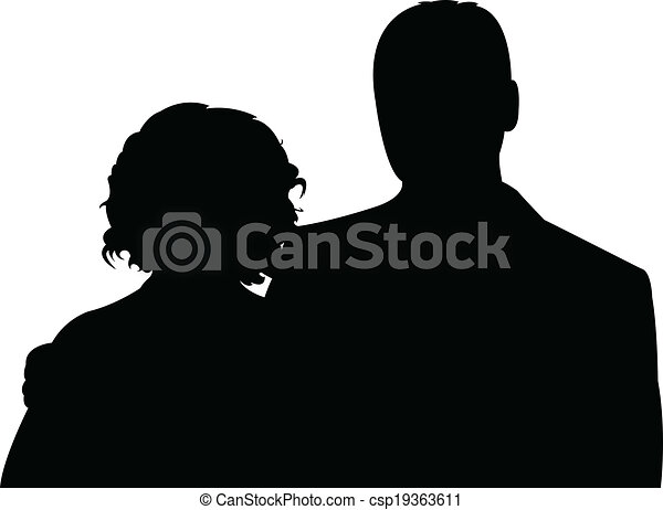 silhouette vector of a couple  - csp19363611