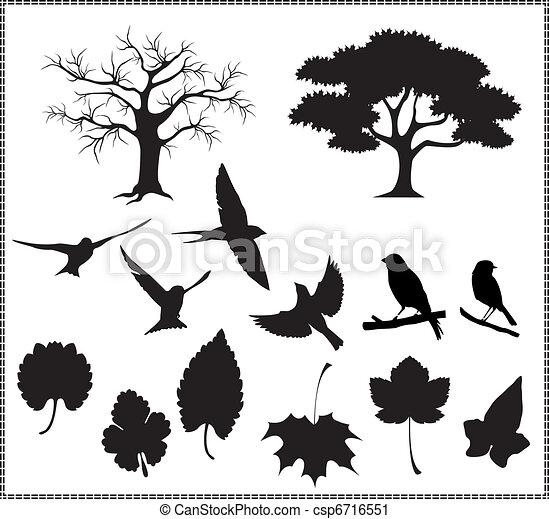 silhouette vector, tree, birds, leaves - csp6716551