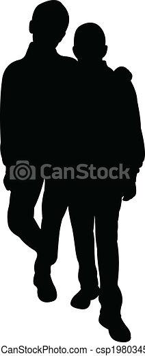 silhouette, vector, -, vrienden - csp19803453