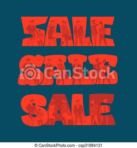 silhouette, vendita, persone - csp31884131