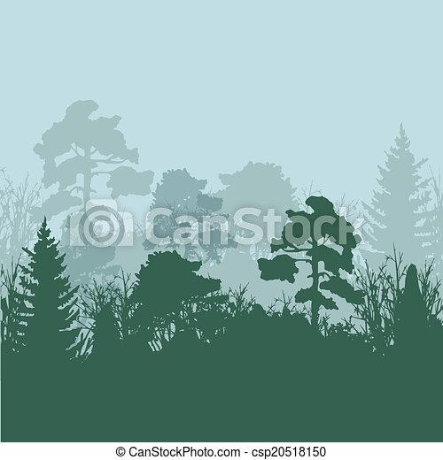 silhouette, vettore, albero, illustrazione - csp20518150