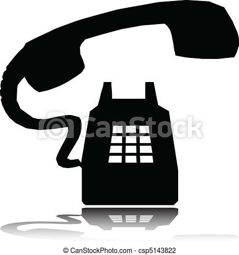 silhouette, vettore, anello, telefono - csp5143822