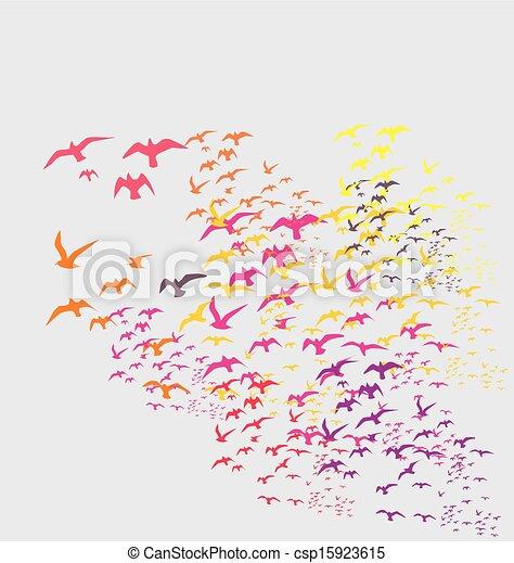 silhouette, vettore, arte, uccelli, serie - csp15923615