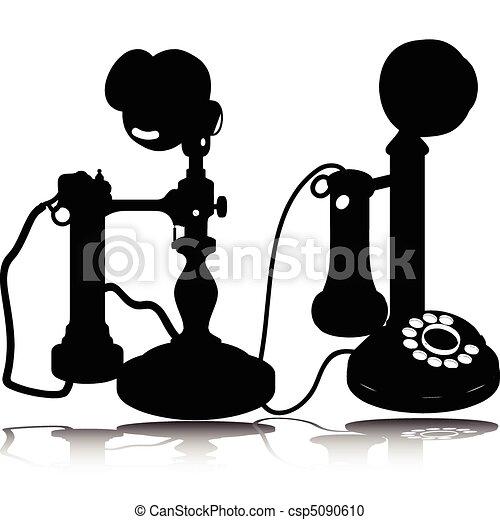 silhouette, vettore, vecchio telefono - csp5090610