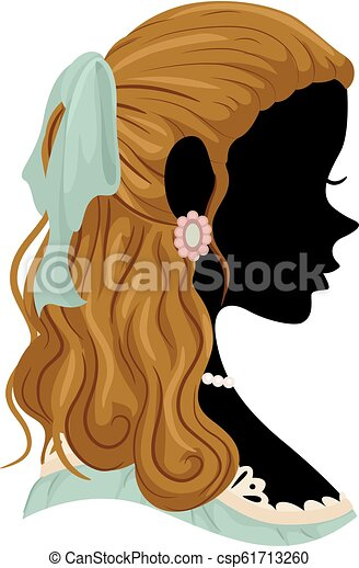 Silhouette Victorian Girl Hair Illustration - csp61713260