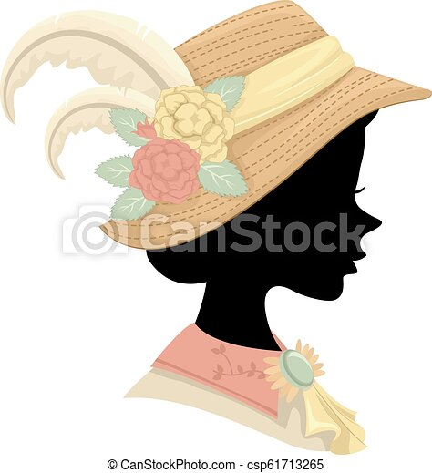 bb92c412ce2 Silhouette victorian girl hat illustration. Illustration of a ...