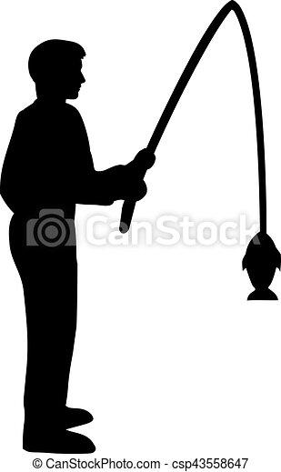 silhouette, visserij, man - csp43558647