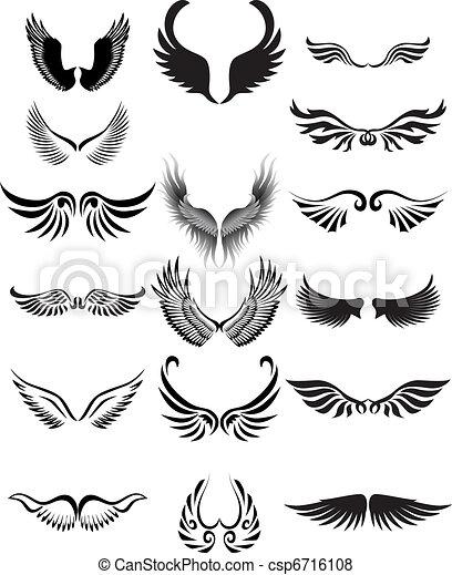 silhouette, vleugels, verzameling - csp6716108